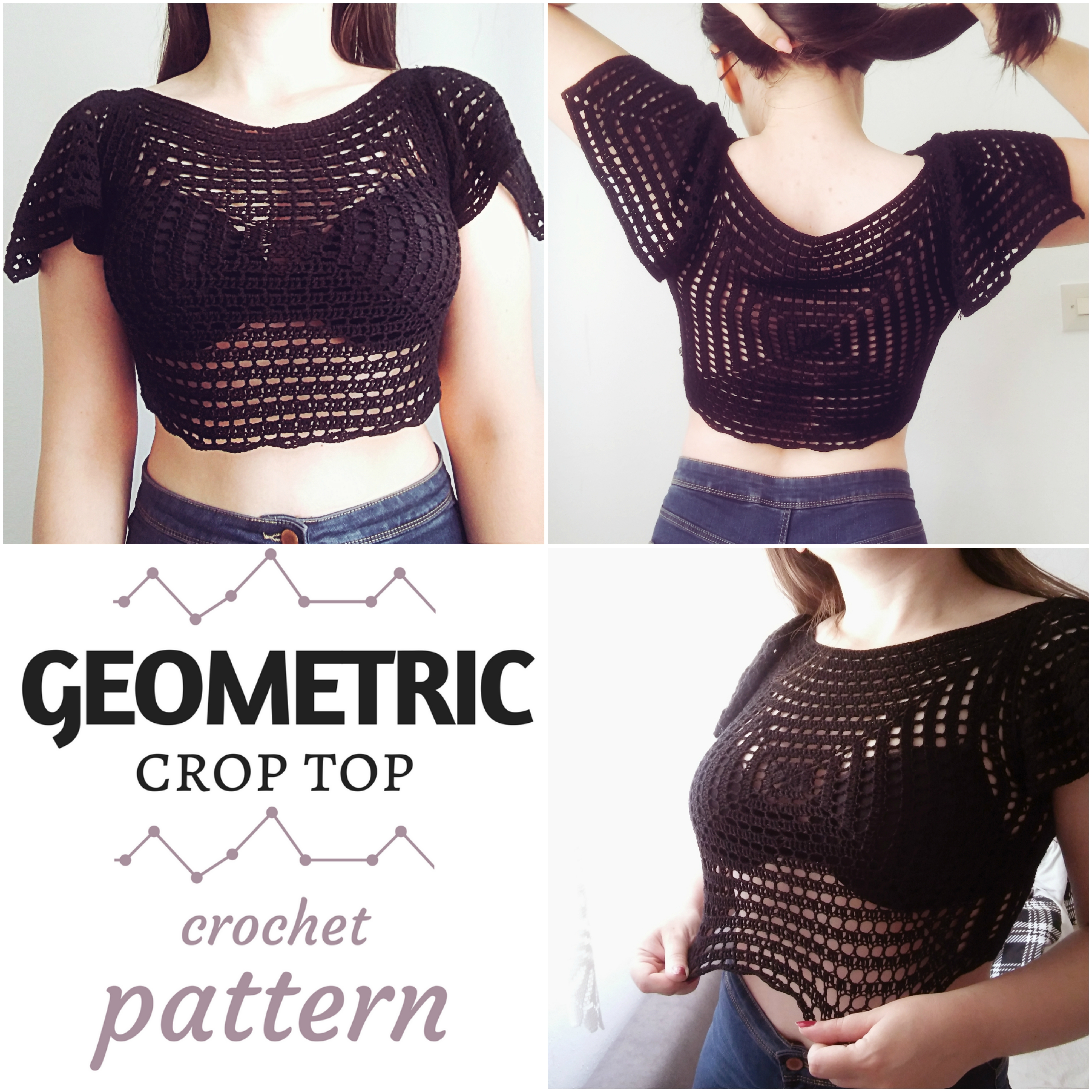 Geometric crop top free crochet pattern the magic loop dt1010fo